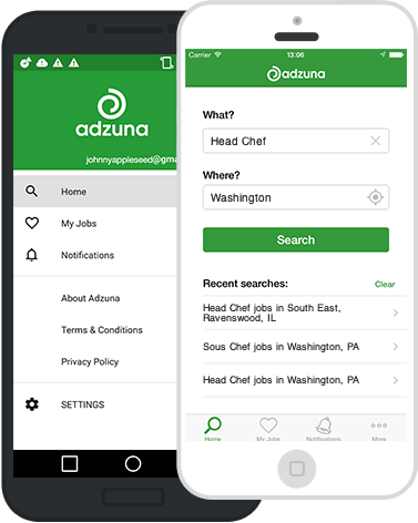 Screenshots of the Adzuna iOS and Android mobile apps