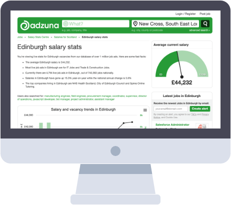 Screenshot of the Adzuna salary stats centre